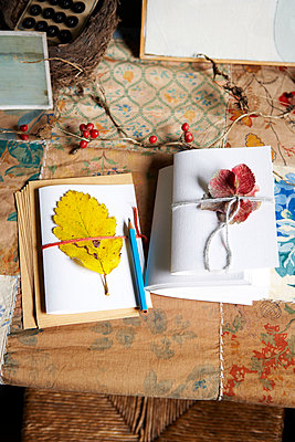 Handmade notebooks with pencil in Isle of Wight home;  UK - p349m920029 by Rachel Whiting