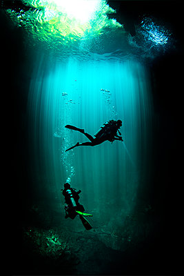 Underwater view of male and female scuba divers exploring cenote called the pit, Tulum, Quintana Roo, Mexico - p924m2077788 by Ken Kiefer 2