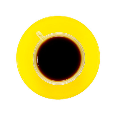 Yellow coffee cup with balck coffee   - p8476950 by Klara G