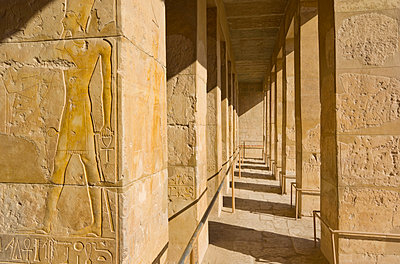 Hieroglyphics in relief on a column on the second terrace of the Temple of Hatshepsut - p871m1073810f by Neale Clarke