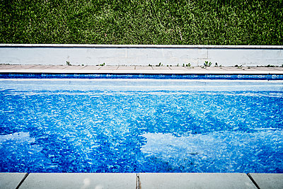 Pool and hedge neglected with dandelions - p1312m2178207 by Axel Killian