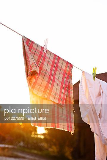 Laundry drying in evening sun