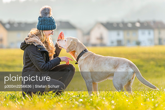 Young woman stroking pet dog in nature - p300m2256636 by Stefan Schurr