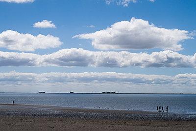 Blick auf die Halligen am Strand von Föhr - p347m2013843 von Georg Kühn