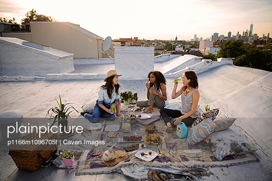 Friends having picnic on rooftop