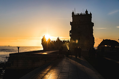 Portugal, Lisbon, Belem Tower at sunset - p300m1587526 by William Perugini