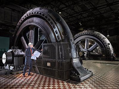 Industrial monument of the turbine hall, Völklinger Hütte - p390m2063876 by Frank Herfort