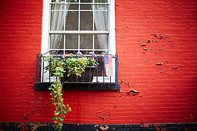 Window and red brick wall - p429m802461 by Cultura