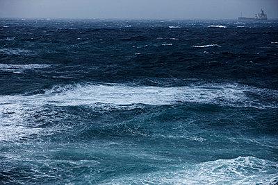 View of stormy ocean - p300m659888f by Tom Hoenig