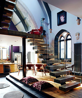 Staircase of mezzanine conversion in Richmond school church  - p349m789899 by Brent Darby